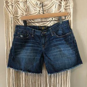 Lucky brand frayed denim jean shorts size 8